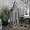 Grey Wooden Lantern Style Floor Lamp