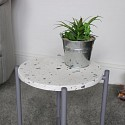 Small White Terrazzo & Grey Metal Table
