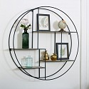 Large Black Metal & Wood Round Wall Shelf