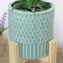 Large Green Planter with Wooden Stand