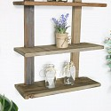 Rustic Wooden Rope Wall Shelves