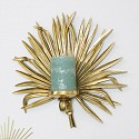 Gold Palm Leaf Candle Wall Sconce