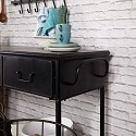 Large 4 Drawer Black Iron Industrial Console Table