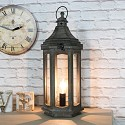 Antique Wooden Lantern Style Table Lamp