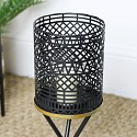 Black Candle Lantern on Stand