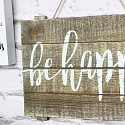 Rustic 'Be Happy' Wooden Wall Plaque