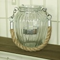 Ribbed Glass Candle Pot with Rope Hanger