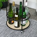 Round Black Retro Bar Cart Drinks Trolley