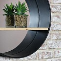Round Industrial Metal Framed Wall Mirror with Shelf 49cm x 49cm