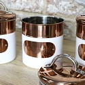 Copper & White Tea Coffee Sugar Canisters