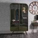 Large Retro Industrial Metal Double Wardrobe