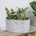 Grey & White Leaf Print Planter Pot