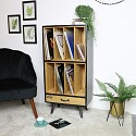 Tall Industrial Retro Style Vinyl Record Storage Cabinet