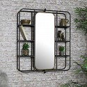 Large Industrial Mirrored Wall Shelving Unit