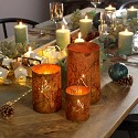 Set of 3 Rusted Metal Leaf Candle Lanterns