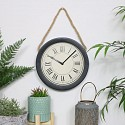 Round Black Clock with Rope