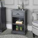 Dark Grey one drawer bedside cabinet - Lancaster Range