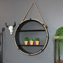 Round Rustic Metal Shelf with Rope Hanger