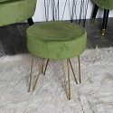 Green Velvet Stool With Gold Legs