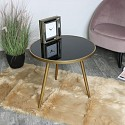 Gold Side Table with Black Glass Top