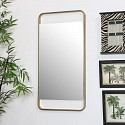 Brushed Gold Wall Mirror - Rectangle 38cm x 76cm