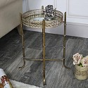 Vintage Gold Mirrored Tray Table