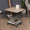 Industrial Black Metal Wire Basket Wooden Top Side Table