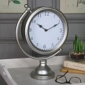 Large Round Vintage Silver Mantel Clock