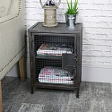 Industrial Rustic Mesh Fronted Bedside Table