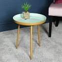 Round Gold & Green Occasional Table