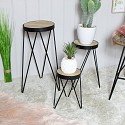 Set of 3 Wire Metal Side Tables / Plant Stands