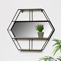 Black Hexagon Wall Shelf - Hexagon Mirror