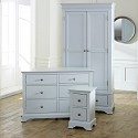 Grey Bedroom Furniture, Double Wardrobe, Large Chest of Drawers & Bedside Table - Davenport Grey Range