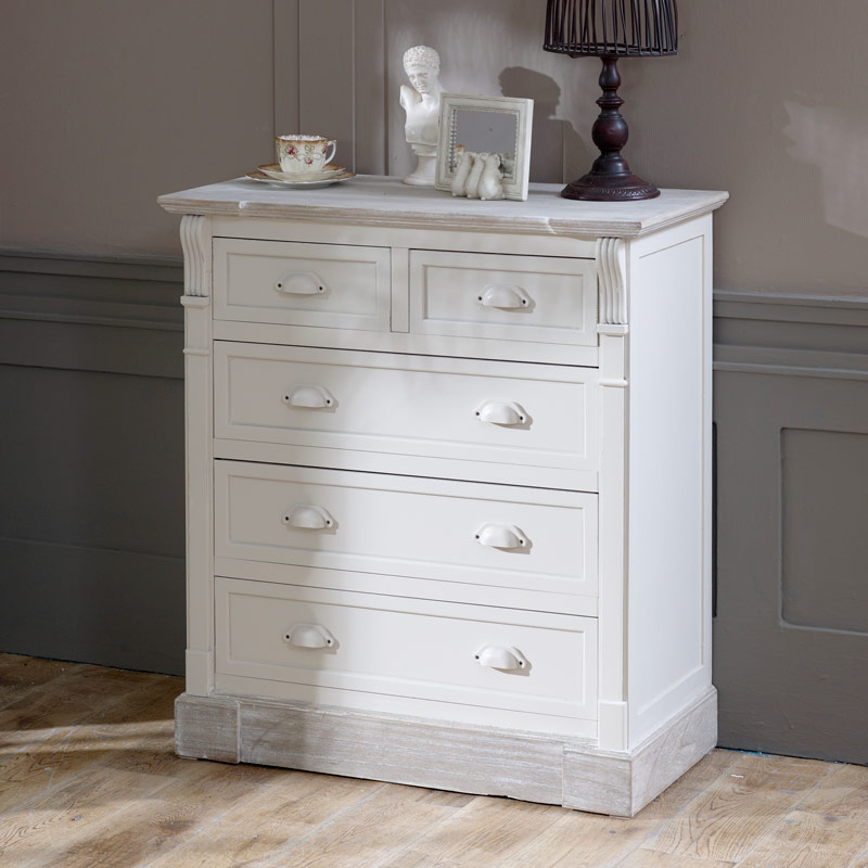 Lyon Range - Cream 5 Drawer Chest of Drawers - Windsor Browne