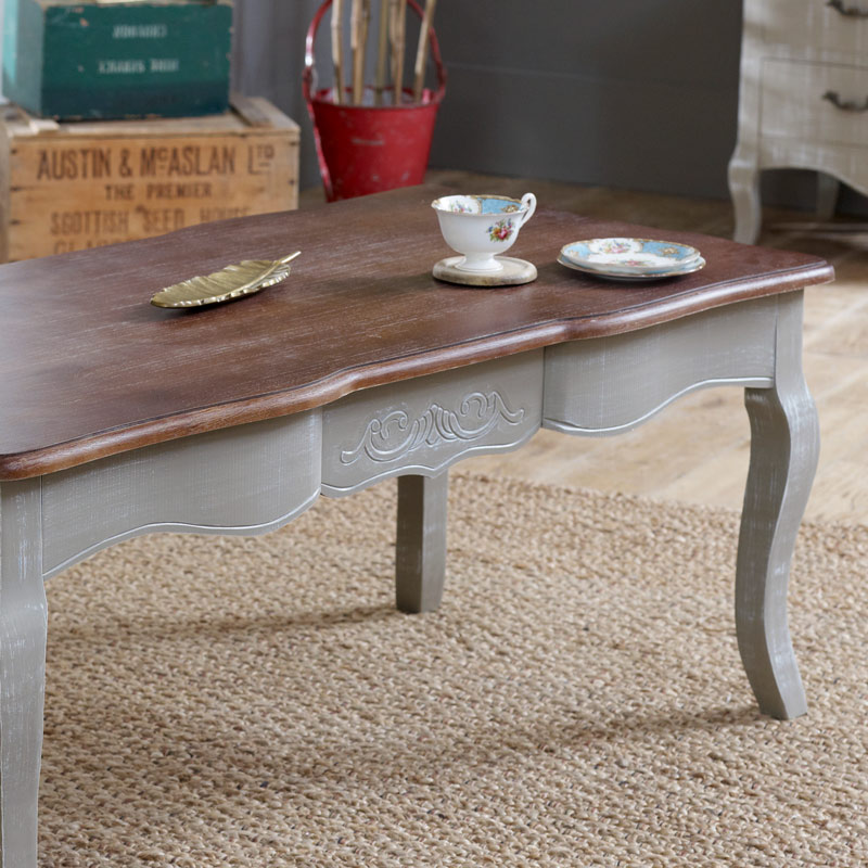 French Wood Coffee Table: Grey Coffee Table With Dark Wood Top