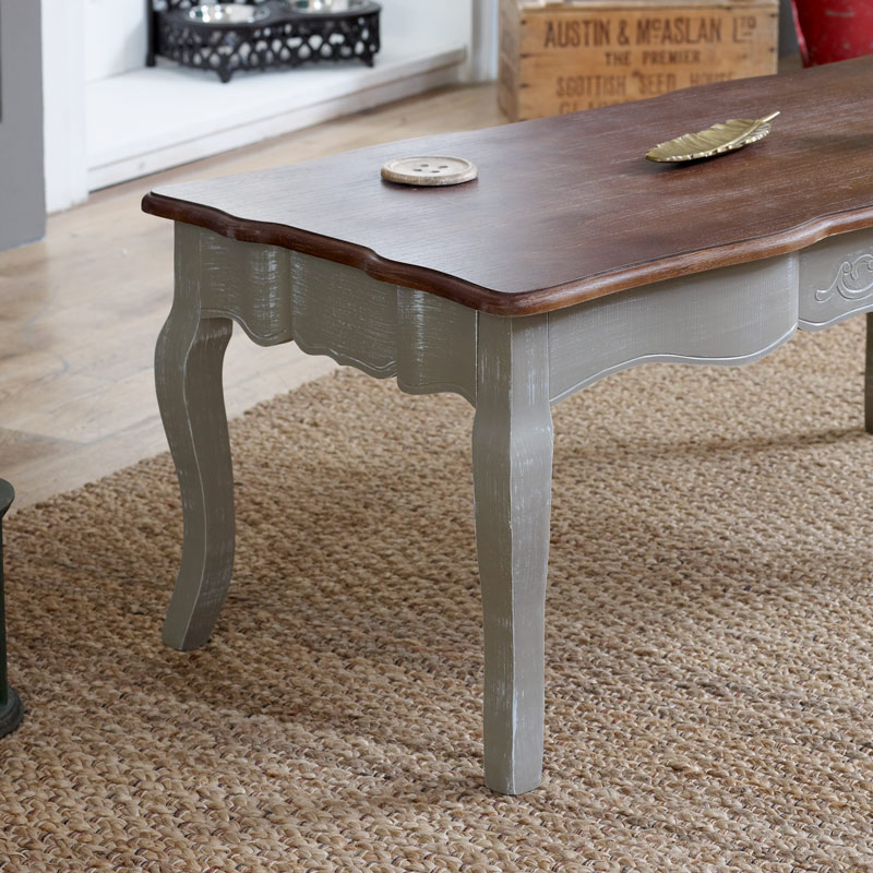 Grey Coffee Table With Dark Wood Top