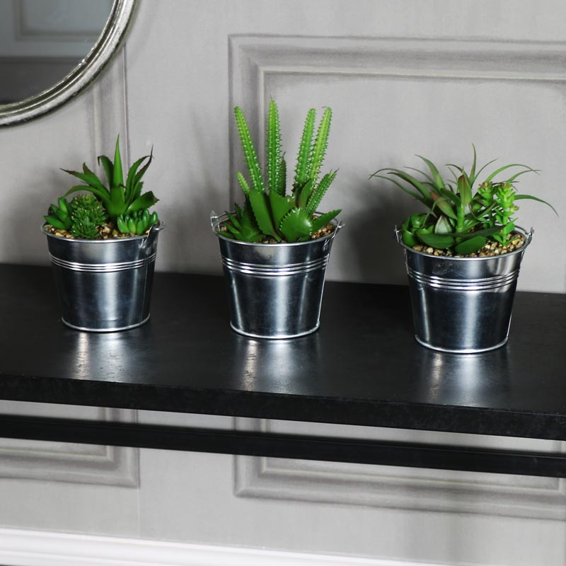set of 3 artificial cactus and aloe vera plants in tin pots windsor browne. Black Bedroom Furniture Sets. Home Design Ideas