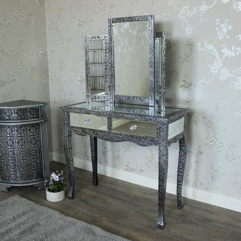silver mirrored dressing table and triple mirror monique. Black Bedroom Furniture Sets. Home Design Ideas