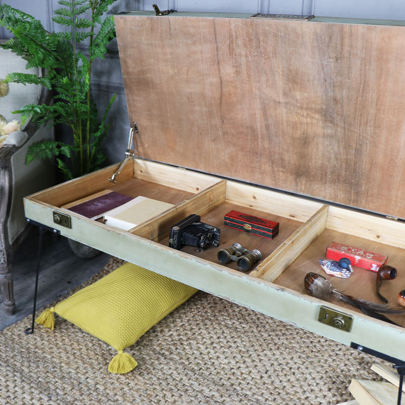 Coffee Table With Storage Glass: Large Rustic Coffee Table With Glass Top Storage