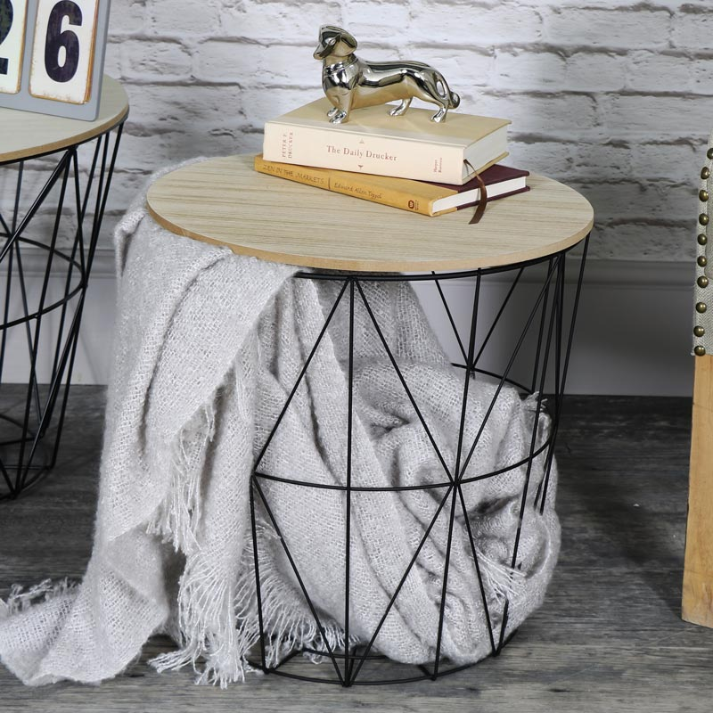 Black metal wire basket wooden top side table windsor browne black metal wire basket wooden top side table greentooth Images