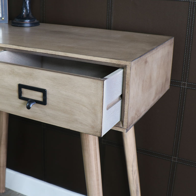 wooden console table. Brixham Range - Two Drawer Wooden Console Table
