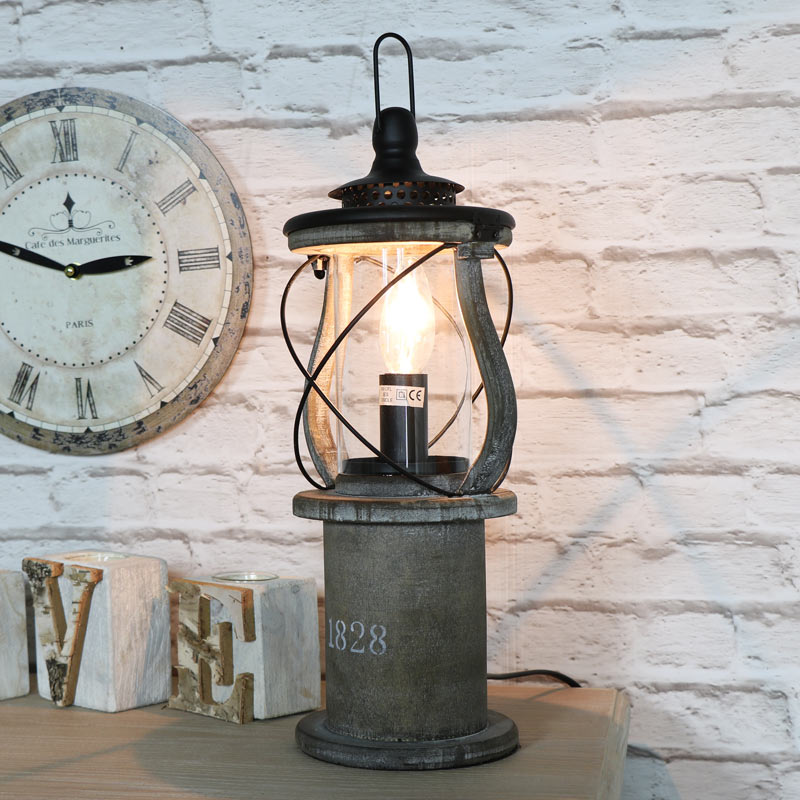 Antique Wooden Miners Lantern Style Table Lamp Windsor