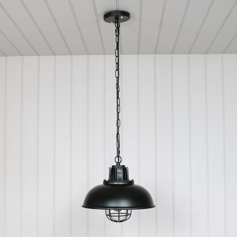 Retro Industrial Style Black Metal Caged Ceiling Pendant