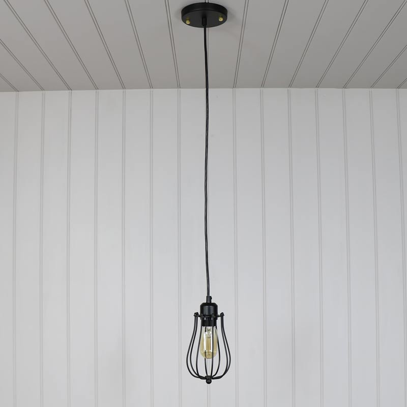 Black Caged Metal Wire Pendant Light - Windsor Browne