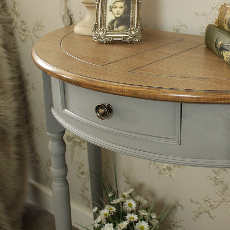 ... Admiral Range   Half Moon Console Table With Drawer And Shelf ...