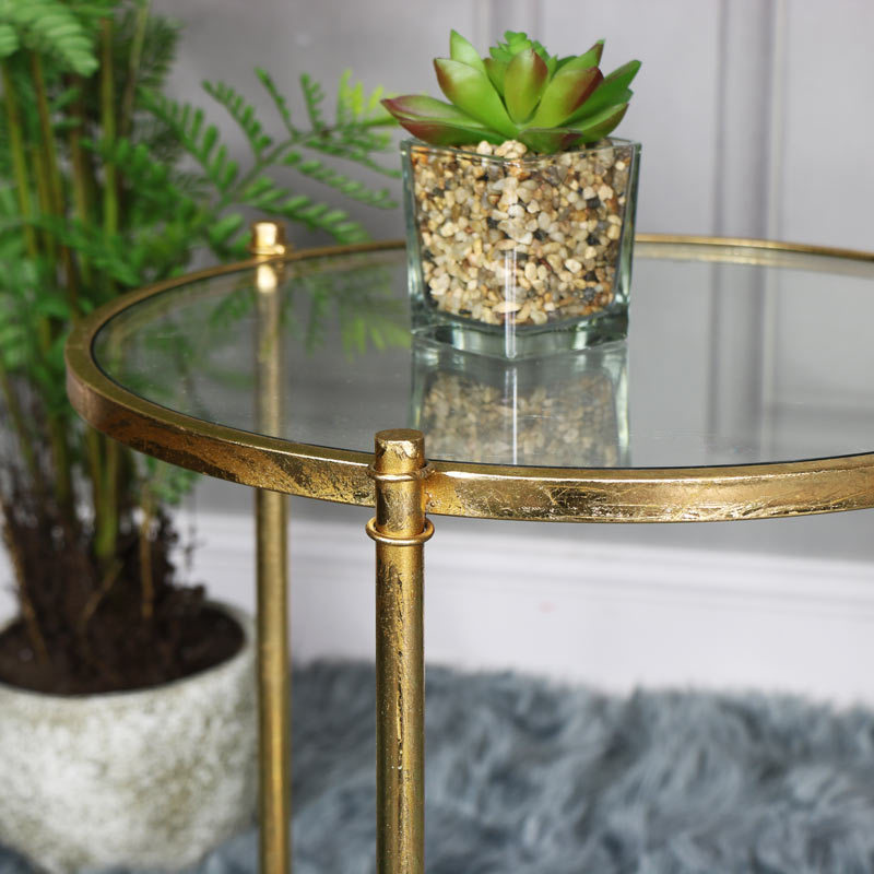 Antique Gold Round Glass Top Side Table