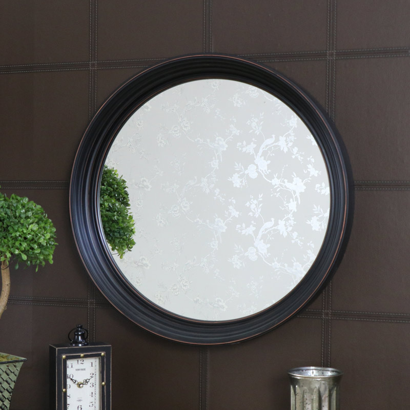 Large round black wall mounted mirror 61cm x 61cm for Big black wall mirror