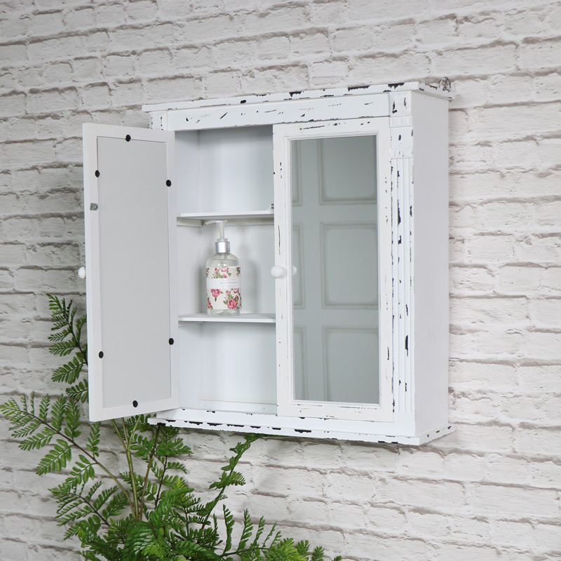 Rustic White Mirrored Bathroom Wall Cabinet - Windsor Browne