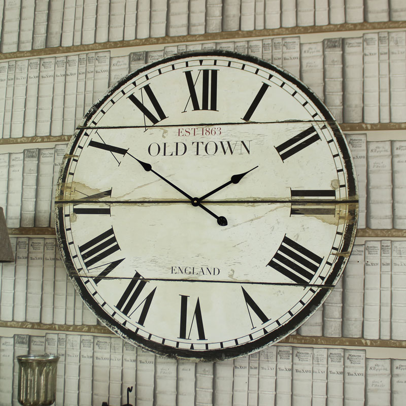 Large Wooden Vintage Style Wall Clock With Roman Numerals