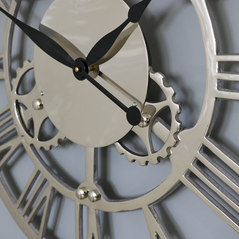 Large Silver Nickel Cog Skeleton Wall Clock Windsor Browne